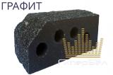 """Кирпич гиперпрессованный пустотелый двухтычковый (угол 45°)  фактура """"Гранит"""" Графит"""