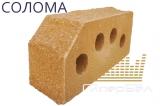 """Кирпич гиперпрессованный пустотелый двухтычковый (угол 45°)  фактура """"Гранит"""" Солома"""
